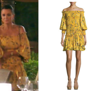fortnite, Real Housewives of Beverly Hills, RHOBH, Kyle Richards, Season 9, Kyle Richards' outfit, celebrity outfits, reality tv shows, Real Housewives of Beverly Hills outfits, bravo, reality tv clothes, Bravo After Show, Kyle's yellow dress, Alexis Gemina Off The Shoulder Dress, Kyle's yellow dress in Hawaii