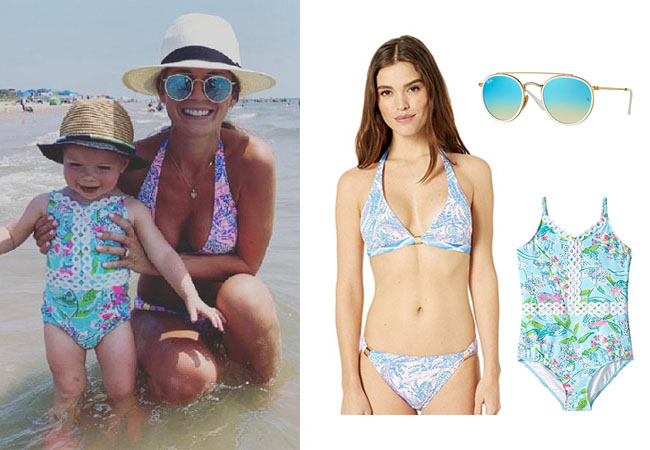 Southern Charm, Bravo TV, Cameran Eubanks, Star Style, fortnite, Game of Thrones, Cameran Eubanks' outfit, Cameran Eubanks clothes, celebrity outfit, ootd, Cameran's bikini, Palmer's swimsuit, Cameran's daughter's swimsuit, Lilly Pulitzer Noa Triangle Bikini Top, Ray-Ban Round Double Bridge Sunglasses, Lilly Pulitzer Baby Mals Swimsuit