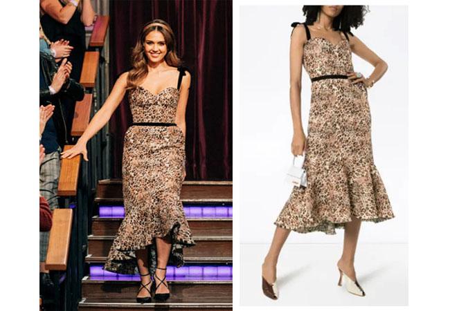 Jessica Alba, Jessica Alba's outfits, Jessica Alba's clothes, Jessica Alba on the Late Late Show, Johanna Ortiz Love Between Species Leopard Print Dress