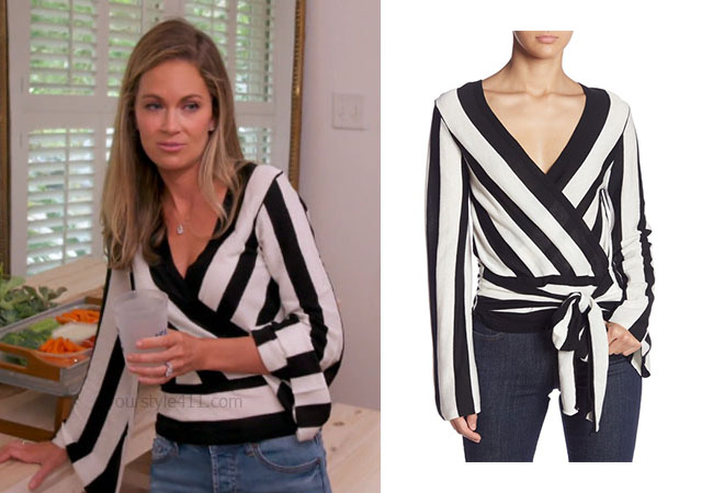Southern Charm, Bravo TV, Cameran Eubanks, Star Style, fortnite, Game of Thrones, Cameran Eubanks' outfit, Cameran Eubanks clothes, celebrity outfit, ootd, Cameran's black and white stripe top, Do + Be Wrap Stripe Bell Sleeve Top, nordstrom