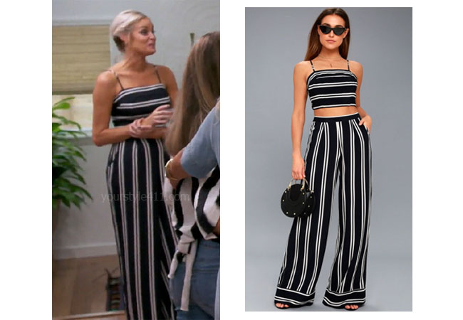 Southern Charm, Bravo TV, Danni Baird, Star Style, fortnite, Game of Thrones, Danni Baird's outfits, Danni Baird's clothes, Danni Baird's striped jumpsuit, Danni's black and white jumpsuit, Lulu's Chic Striped Two Piece Jumpsuit