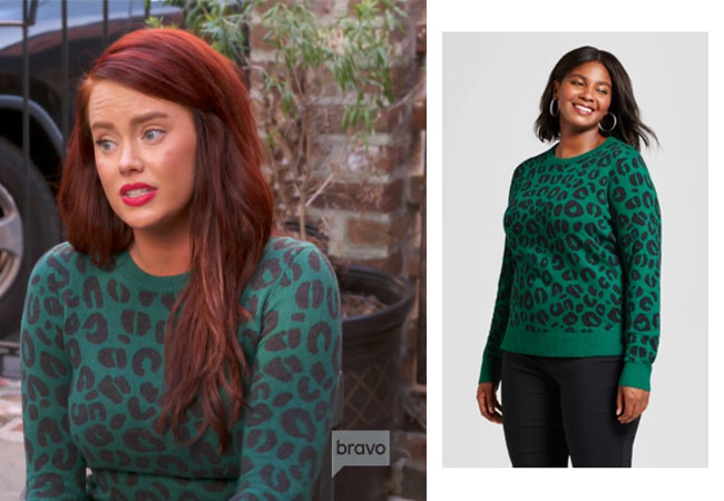 Southern Charm, Bravo TV, Kathryn Dennis, Star Style, fortnite, Game of Thrones, Catherine Dennis' outfit, Kathryn Dennis' clothes, celebrity outfit, ootd, Kathryn's green leopard sweater, Target green leopard sweater, A New Day green leopard sweater