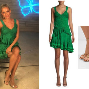Very Cavallari, Kristin Cavallari, Jay Cutler, Laguna Beach, Kristin Cavallari's outfits, Uncommon James, Celebrity Outfits, Celebrity Fashion, Celebrity Style, Star Style, Kristin Cavallari's green dress, Paradise Hotel, Alexis Lakshmi Ruffle Mini Dress, Aquazzura Purist Mirrored leather sandals