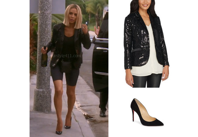 fortnite, Real Housewives of Beverly Hills, RHOBH, Dorit Kemsley, Season 9, Dorit Kemsley's outfit, celebrity outfits, reality tv shows, Real Housewives of Beverly Hills outfits, bravo, reality tv clothes, Dorit's black sequin blazer jacket, Lisa Rinna Collection Sequin Jacket, Christian Louboutin pumps, Vanderpump, LVP, Lisa Vanerpump