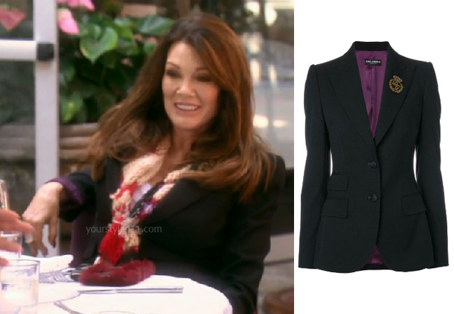 fortnite, Real Housewives of Beverly Hills, RHOBH, Lisa Vanderpump, Season 9, Lisa Vanderpump' outfit, celebrity outfits, reality tv shows, Real Housewives of Beverly Hills outfits, bravo, reality tv clothes, Vanderpump Rules, Lisa Vanderpump's blazer at granite yard, Lisa Vanderpump's black blazer, Dolce and Gabbana Embroidered Logo Blazer, Vanderpump Rules, LVP, Game of Thrones, #GOT