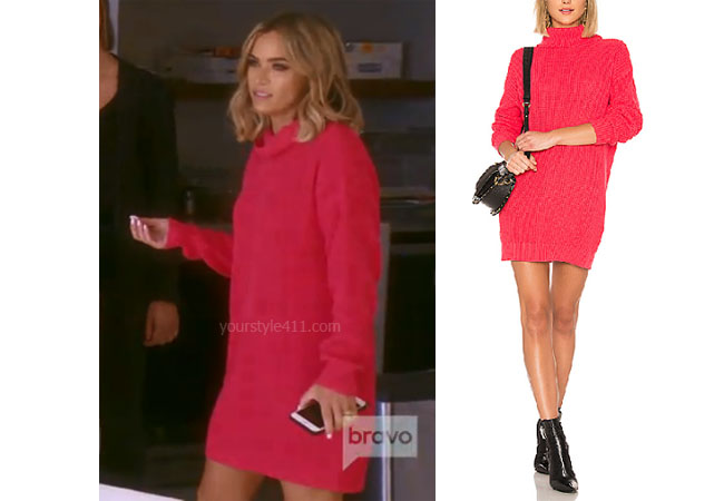fortnite, Real Housewives of Beverly Hills, RHOBH, Teddi Mellencamp, Season 9, Teddi Mellencamp's outfit, celebrity outfits, reality tv shows, Real Housewives of Beverly Hills outfits, bravo, reality tv clothes, Teddi Mellencamp's pink sweater dress, Teddi's pink dress, Lovers + Friends Christina Sweater Dress