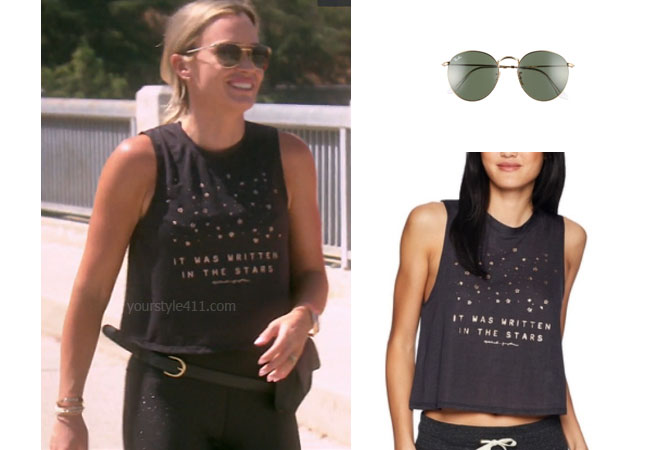 fortnite, Real Housewives of Beverly Hills, RHOBH, Teddi Mellencamp, Season 9, Teddi Mellencamp's outfit, celebrity outfits, reality tv shows, Real Housewives of Beverly Hills outfits, bravo, reality tv clothes, Teddi Mellencamp's black tank, Spiritual Gangster Written in Stars Tank, Ray-Ban 53mm Retro Sunglasses, Game of Thrones, #GOT