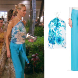 fortnite, Real Housewives of Beverly Hills, RHOBH, Dorit Kemsley, Season 9, Dorit Kemsley's outfit, celebrity outfits, reality tv shows, Real Housewives of Beverly Hills outfits, bravo, reality tv clothes, Game of Thrones, Dorit's blue halter top and pants in Hawaii, Roberto Cavalli Silk Top and Casual Pants