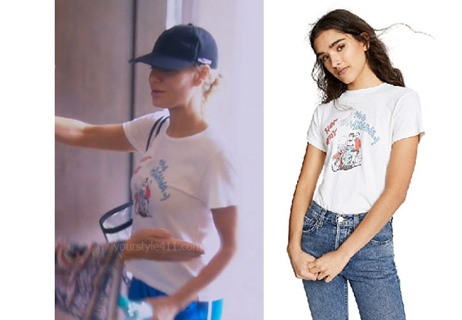 fortnite, Real Housewives of Beverly Hills, RHOBH, Dorit Kemsley, Season 9, Dorit Kemsley's outfit, celebrity outfits, reality tv shows, Real Housewives of Beverly Hills outfits, bravo, reality tv clothes, Game of Thrones, Dorit's T-Shirt, Re/Done Her Way Classic Tee