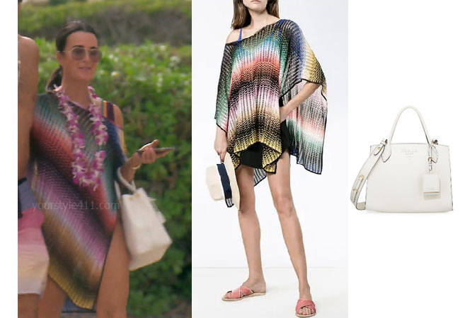 fortnite, Real Housewives of Beverly Hills, RHOBH, Kyle Richards, Season 9, Kyle Richards' outfit, celebrity outfits, reality tv shows, Real Housewives of Beverly Hills outfits, bravo, reality tv clothes, Bravo After Show, Kyle's swimsuit coverup in Hawaii, Missoni zizag, Missoni Zig-Zag Stripe Poncho, Prada Large Monochrome Bag