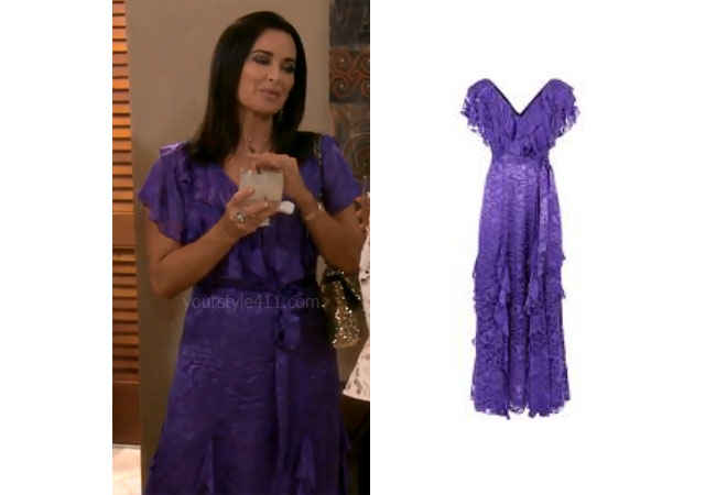 fortnite, Real Housewives of Beverly Hills, RHOBH, Kyle Richards, Season 9, Kyle Richards' outfit, celebrity outfits, reality tv shows, Real Housewives of Beverly Hills outfits, bravo, reality tv clothes, Bravo After Show, Kyle's purple dress in Hawaii, Alice + Olivia Tessa Ruffle Dress