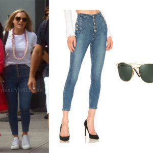 fortnite, Real Housewives of Beverly Hills, RHOBH, Teddi Mellencamp, Season 9, Teddi Mellencamp's outfit, celebrity outfits, reality tv shows, Real Housewives of Beverly Hills outfits, bravo, reality tv clothes, Teddi Mellencamp's jeans, Teddi's sunglasses,, J Brand Natasha Jeans, Ray-Ban Square Metal Sunglasses