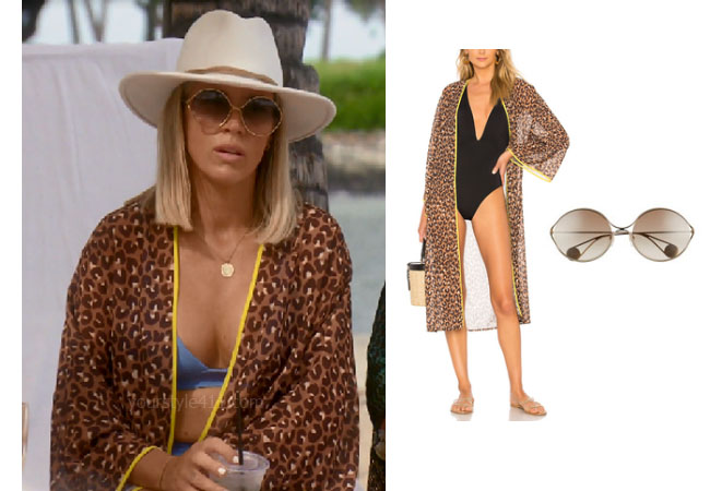 fortnite, Real Housewives of Beverly Hills, RHOBH, Teddi Mellencamp, Season 9, Teddi Mellencamp's outfit, celebrity outfits, reality tv shows, Real Housewives of Beverly Hills outfits, bravo, reality tv clothes, Teddi Mellencamp's beach coverup, Teddi's sunglasses, Teddi's swimsuit coverup, Lovewave The Dunn Kimono, Gucci 58mm sunglasses