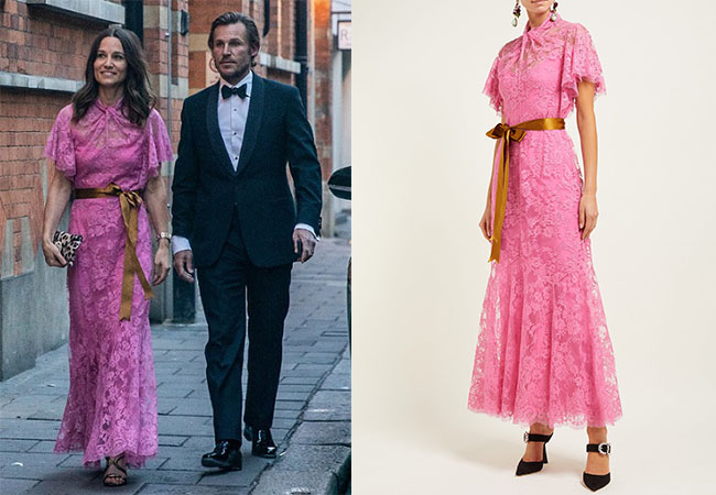 Pippa Middleton, Kate Middleton, Meghan Markle, House of Sussex, Royalty, HRH, Queen Elizabeth, Erdem Celestina Floral Lace Gown, British style, British fashion,
