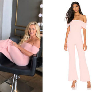 Real Housewives of Orange County, RHOC, Tamra Judge, Vickie Gunvalson, Bravo TV, Reality TV, Tamra Judge outfits, Starstyle, Worn on TV, Shop Your TV, Superdown Aubrey Off The Shoulder Jumpsuit, Tamra Judge's pink jumpsuit