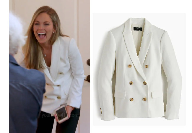 Southern Charm, Bravo TV, Cameran Eubanks, Star Style, fortnite, Game of Thrones, Cameran Eubanks' outfit, Cameran Eubanks clothes, celebrity outfit, ootd, Jcrew blazer, Cameran's blazer, Cameran's jacket, JCrew double breasted blazer