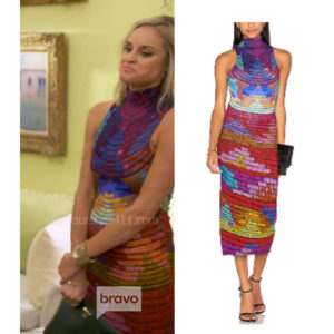 Southern Charm, Bravo TV, Danni Baird, Star Style, fortnite, Game of Thrones, Danni Baird's outfits, DAnni Baird's clothes, Danni Baird's colorful dress, rainbow dress, Mara Hoffman Radial Turtleneck Midi Dress
