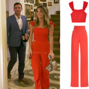 Southern Charm, Bravo TV, Naomie Orlindo, Star Style, fortnite, Game of Thrones, Naomie Orlindo's outfit, Naomie Orlindo clothes, celebrity outfit, ootd, Alice + Olivia Florinda Pants, Alice + Olivia Celestial Crop Top, Naomie Orlindo's red jumpsuit, Gizmo