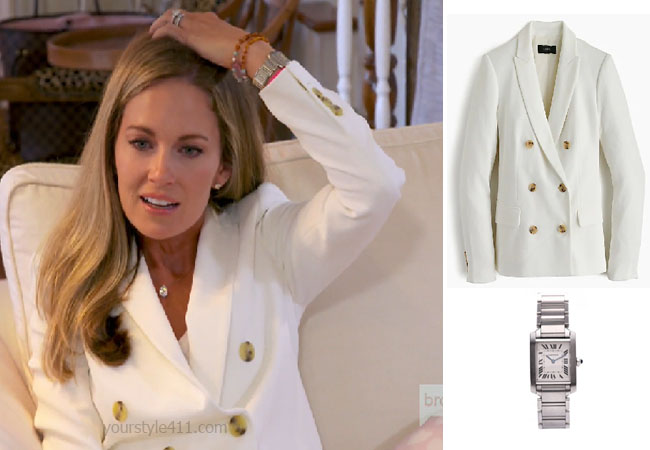 Southern Charm, Bravo TV, Cameran Eubanks, Star Style, fortnite, Game of Thrones, Cameran Eubanks' outfit, Cameran Eubanks clothes, celebrity outfit, ootd, Cameran's cream blazer, J Crew double breasted blazer, Cartier tank watch