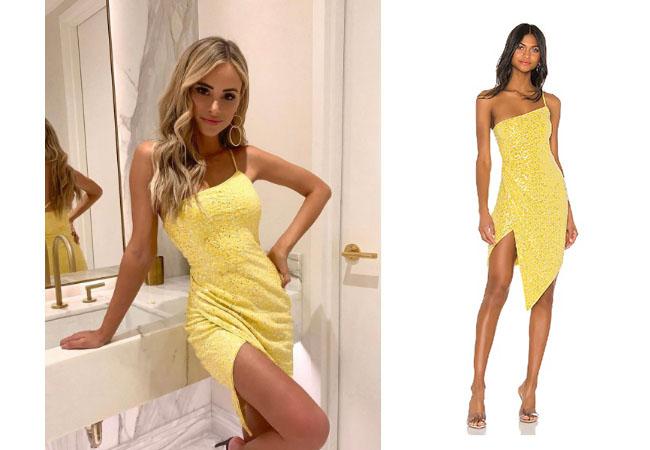 Coachella, Amanda Stanton, The Bachelor, The Bachelorette, Amanda's Yellow Dress on Instagram on June 15, 2019, H:ours Crescent Dress