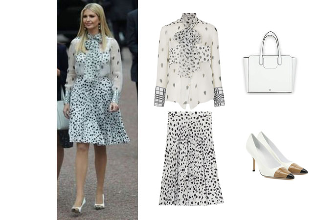 Ivanka Trump, Donald Trump, Melania Trump, Celebrity Outfits, Ivanka Trump outfits, Buckingham Palace, State Dinner, London, Queen, Royalty, Ivanka's polka dot blouse and skirt, Burberry Animal Print Plisse Skirt, Burberry Dalmation and Check Print Blouse, Burberry Annalise 90 Leather Pumps., Ivanka Trump Soho Organizational Work Tote