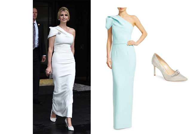 Ivanka Trump, Donald Trump, Melania Trump, Celebrity Outfits, Ivanka Trump outfits, Buckingham Palace, State Dinner, London, Queen, Royalty, Ivanka's white dress at winfield House June 3, Safiyaa Kora one shoulder dress, Jimmy Choo Romy crystal Pump
