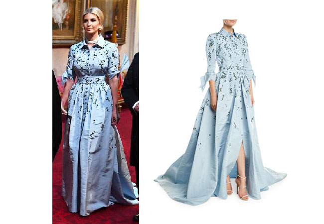 Ivanka Trump, Donald Trump, Melania Trump, Celebrity Outfits, Ivanka Trump outfits, State Banquet, Royalty, Queen, Ivanka Trump's blue gown, Ivanka's blue dress, Caroline Herrera Embroidered Trench Gown