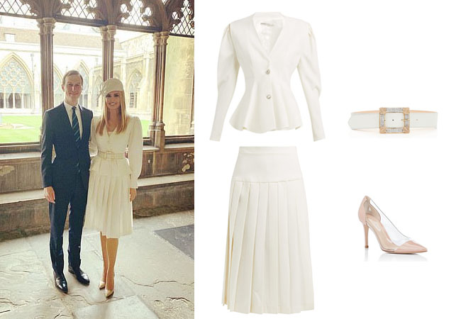 Ivanka Trump, Donald Trump, Melania Trump, Celebrity Outfits, Ivanka Trump outfits, Buckingham Palace, State Dinner, London, Queen, Royalty, Ivanka's cream jacket and skirt, Alessandra Rich pleated wool skirt, Alessandra Rich wool jacket, Alessandra Rich crystal belt, Gianvito Rossi vernice patent pumps