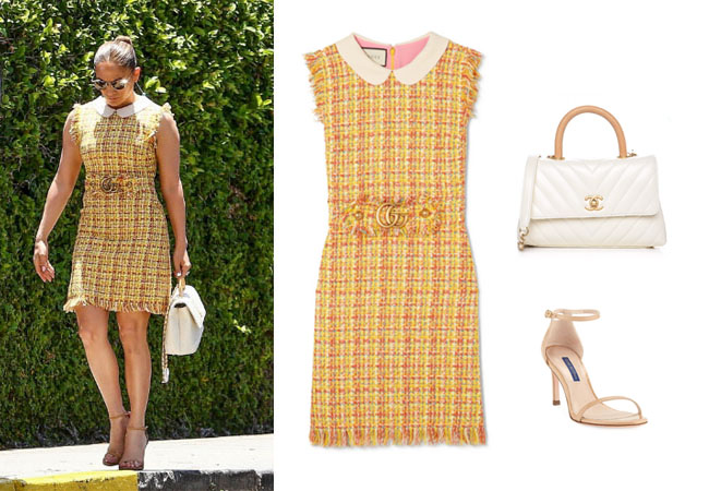 Jennifer Lopez, Jennifer Lopez's outfit, Jennifer Lopez's clothes, JLo, Alex Rodriguez, Jennifer Lopez's yellow dress, Jennifer Lopez's white Chanel bag, Gucci frayed tweed dress, Chanel quilted chevron handle bag, Stuart Weitzman Nudist 80 Patent Leather Naked Sandals