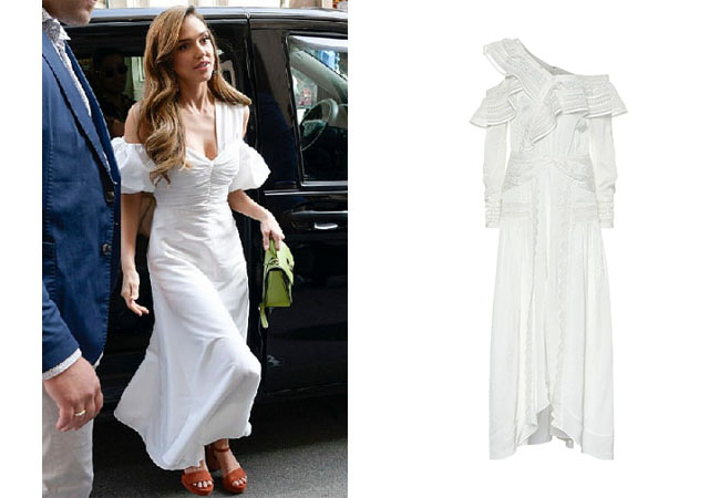 Jessica Alba, Jessica Alba's outfits, Jessica Alba's clothes, Jessica Alba's white dress, Self-Portrait One Shoulder Midi Dress
