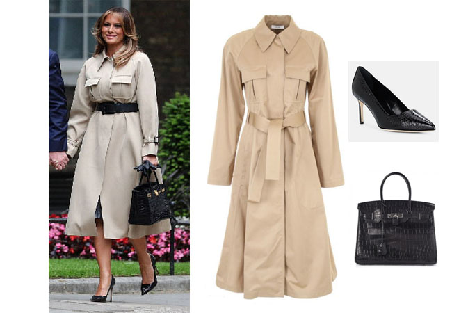 Melania Trump, Ivanka Trump, Donald Trump, Melania's fashion, Melania's outfit, Celine Chestnut trench coat, Hermes Birkin bag, Manolo Blahnik's black pumps