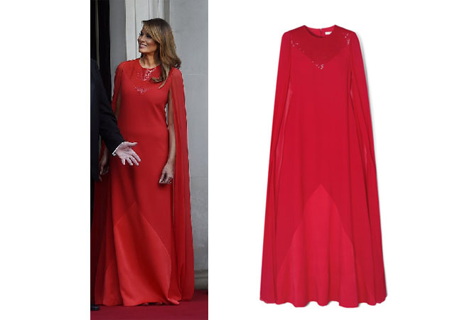 Melania Trump, Ivanka Trump, Donald Trump, Melania's fashion, Melania's outfit, Melania's red gown at Winfield House, Givenchy Cape effect beaded wool silk gown
