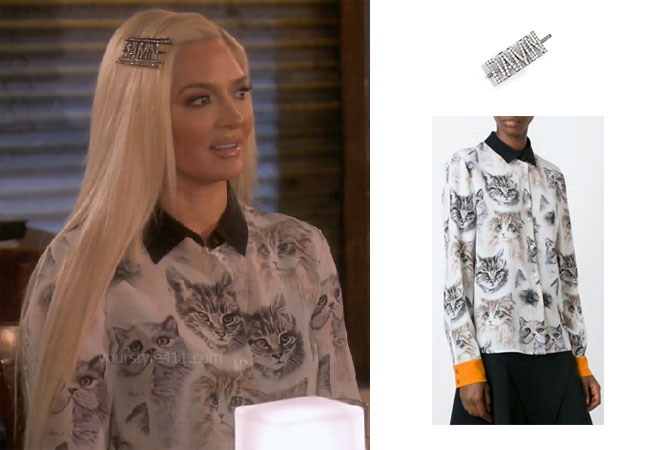 fortnite, Real Housewives of Beverly Hills, RHOBH, Erika Girardi, Season 9, Erika Girardi's outfit, celebrity outfits, reality tv shows, Real Housewives of Beverly Hills outfits, bravo, reality tv clothes, Erika Jayne, Erika's Cat Top, Erika's Bobby Pins, Stella McCartney Wilson Cat Shirt, Kitsch Damn Rhinestone Bobby Pin