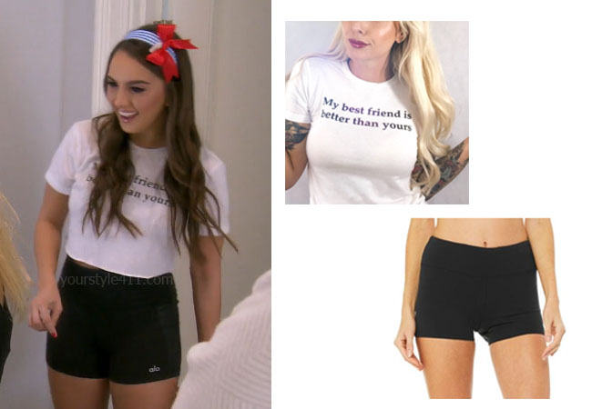 fortnite, Real Housewives of Beverly Hills, RHOBH, Kyle Richards, Season 9, Kyle Richards' outfit, celebrity outfits, reality tv shows, Real Housewives of Beverly Hills outfits, bravo, reality tv clothes, Bravo After Show, Alexia Umansky, My Best Friend Is Better Than Your Best Friend T-Shirt, Alo Airbrush Short