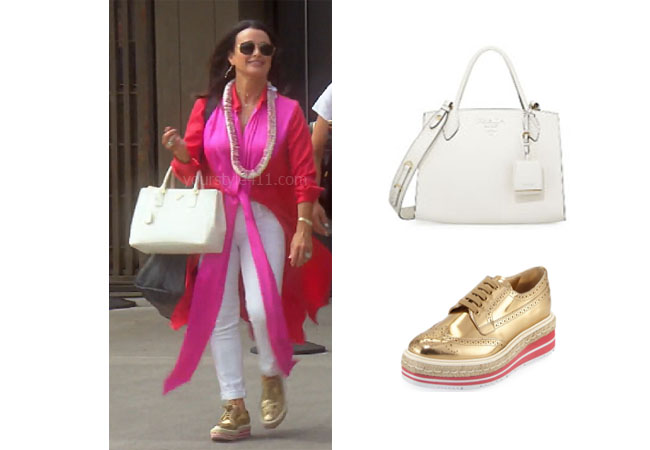 fortnite, Real Housewives of Beverly Hills, RHOBH, Kyle Richards, Season 9, Kyle Richards' outfit, celebrity outfits, reality tv shows, Real Housewives of Beverly Hills outfits, bravo, reality tv clothes, Bravo After Show, Kyle's white bag in Hawaii, Kyle's gold shoes in Hawaii, Prada metallic wing-tip sneakers, Prada bag