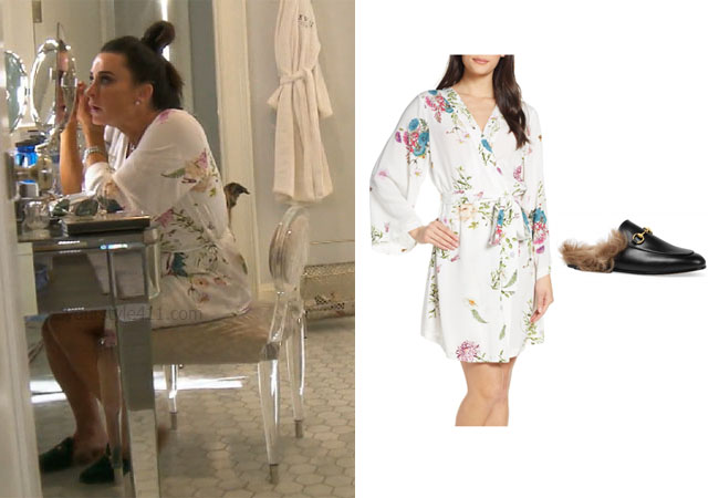 fortnite, Real Housewives of Beverly Hills, RHOBH, Kyle Richards, Season 9, Kyle Richards' outfit, celebrity outfits, reality tv shows, Real Housewives of Beverly Hills outfits, bravo, reality tv clothes, Bravo After Show, Kyle's floral robe at Halloween, Kyle's mules, Gucci Princetown Fur Lined Mules, Plum Pretty Sugar Floral Short Robe
