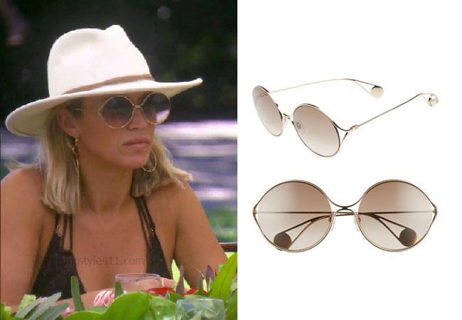 fortnite, Real Housewives of Beverly Hills, RHOBH, Teddi Mellencamp, Season 9, Teddi Mellencamp's outfit, celebrity outfits, reality tv shows, Real Housewives of Beverly Hills outfits, bravo, reality tv clothes, Teddi Mellencamp's sunglasses in Hawaii, Gucci 58mm Gradient Lens Round Sunglasses