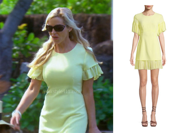 fortnite, Real Housewives of Beverly Hills, RHOBH, Denise Richards, Season 9, Camille Grammer's outfit, celebrity outfits, reality tv shows, Real Housewives of Beverly Hills outfits, bravo, reality tv clothes, Camille's yellow dress, cinq a sept Rosaria Crewneck Short Sleeve Sheath dress