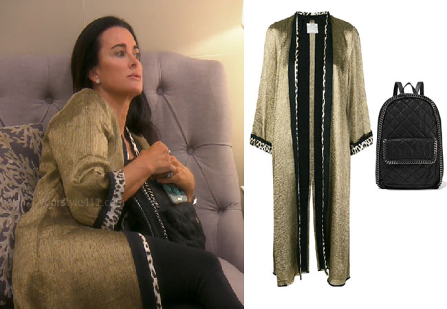 fortnite, Real Housewives of Beverly Hills, RHOBH, Kyle Richards, Season 9, Kyle Richards' outfit, celebrity outfits, reality tv shows, Real Housewives of Beverly Hills outfits, bravo, reality tv clothes, Bravo After Show, Kyle's gold robe, Kyle's quilted backpack, Forte contrast trim metallic kimono, Stella McCartney quilted backpack