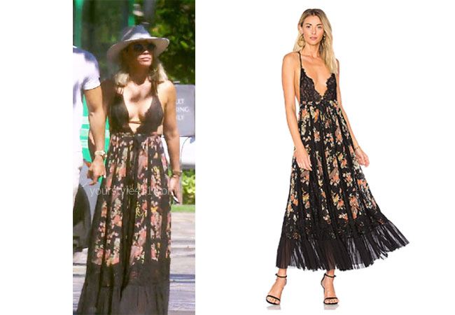 fortnite, Real Housewives of Beverly Hills, RHOBH, Teddi Mellencamp, Season 9, Teddi Mellencamp's outfit, celebrity outfits, reality tv shows, Real Housewives of Beverly Hills outfits, bravo, reality tv clothes, Teddi Mellencamp's leopard top, Teddi's black floral dress in Hawaii, HAH I'll Take You Farther Dress