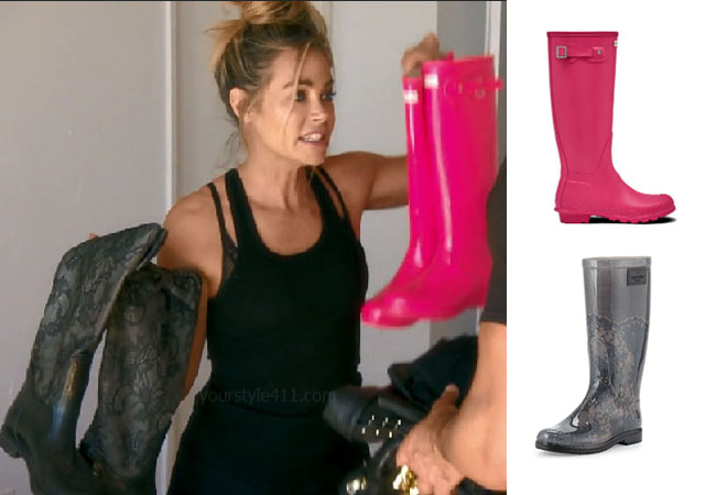 Real Housewives of Beverly Hills, RHOBH, Denise Richards, Season 9, Denise Richards's outfit, celebrity outfits, reality tv shows, Real Housewives of Beverly Hills outfits, bravo, reality tv clothes, Denise's pink boots, Denise's lace black boots, Hunter Original Tall Boots, Valentino Lace Print Rain Boot