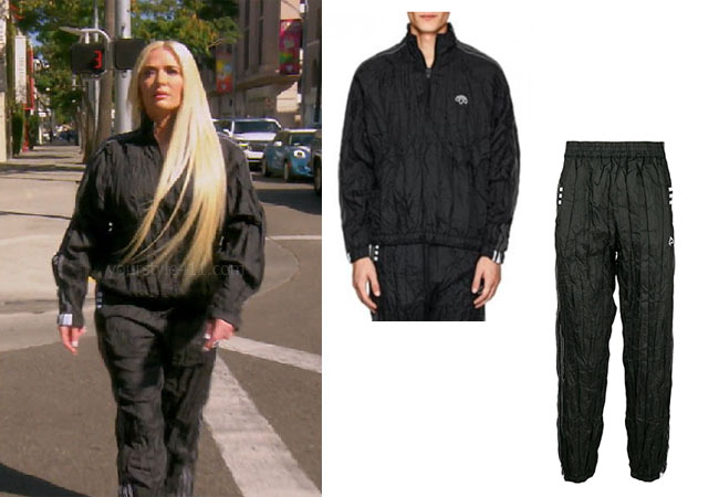 fortnite, Real Housewives of Beverly Hills, RHOBH, Erika Girardi, Season 9, Erika Girardi's outfit, celebrity outfits, reality tv shows, Real Housewives of Beverly Hills outfits, bravo, reality tv clothes, Erika Jayne, Erika's crinkled black tracksuit, Erika's tracksuit, Adidas for Alexander Wang wrinkled tech track jacket. Adidas for Alexander Wang wrinkled tech track pants