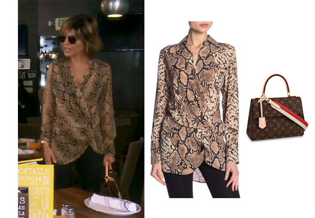 fortnite, Real Housewives of Beverly Hills, RHOBH, Lisa Rinna, Season 9, Lisa Rinna's outfit, celebrity outfits, reality tv shows, Real Housewives of Beverly Hills outfits, bravos, Lisa Rinna's snakeskin top, Lisa Rinna's Louis Vuitton bag, Dress Forum Snakeprint Blouse, Louis Vuitton Cluny BB bag