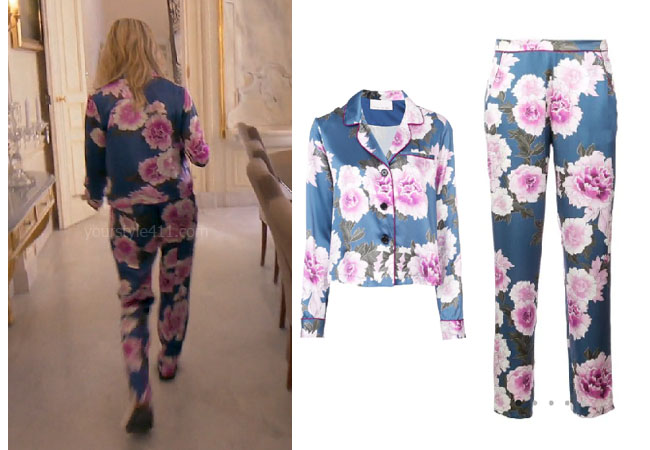 fortnite, Real Housewives of Beverly Hills, RHOBH, Dorit Kemsley, Season 9, Dorit Kemsley's outfit, celebrity outfits, reality tv shows, Real Housewives of Beverly Hills outfits, bravo, reality tv clothes, Game of Thrones, Dorit's floral pajamas, Fleur Du Mal pajama shirt, Fleur Du Mal pajama bottom, Dorit's pajamas in France Provence