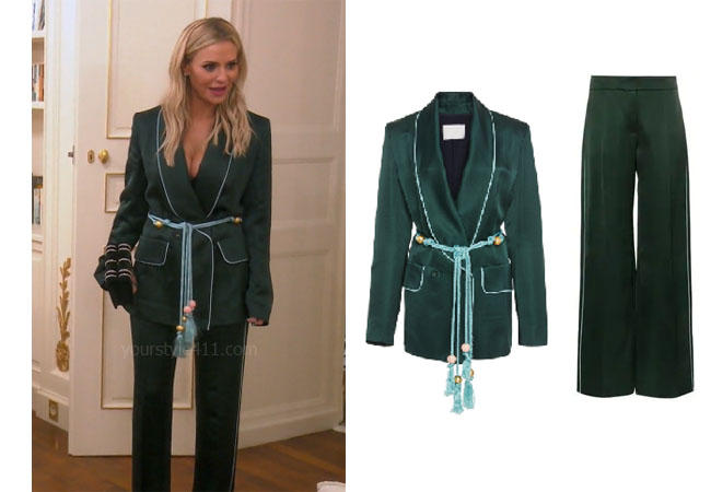 fortnite, Real Housewives of Beverly Hills, RHOBH, Dorit Kemsley, Season 9, Dorit Kemsley's outfit, celebrity outfits, reality tv shows, Real Housewives of Beverly Hills outfits, bravo, reality tv clothes, Game of Thrones, Dorit's green silk pajamas, Dorit's green blazer and pants, Peter Pilotto satin trousers, Peter Pilotto tasseled satin blazer
