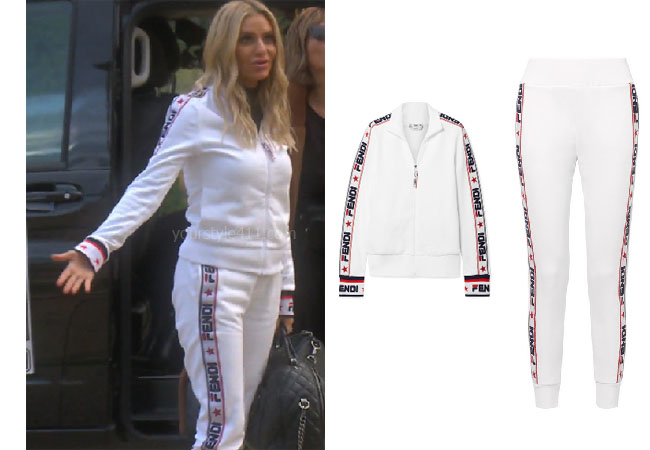 fortnite, Real Housewives of Beverly Hills, RHOBH, Dorit Kemsley, Season 9, Dorit Kemsley's outfit, celebrity outfits, reality tv shows, Real Housewives of Beverly Hills outfits, bravo, reality tv clothes, Game of Thrones, Dorit's white tracksuit in France, Fendi Embroidered Cotton Blend Track Jacket, Fendi Applqued cotton blend track pants