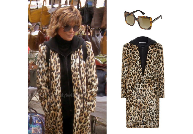 fortnite, Real Housewives of Beverly Hills, RHOBH, Lisa Rinna, Season 9, Lisa Rinna's outfit, celebrity outfits, reality tv shows, Real Housewives of Beverly Hills outfits, bravos, Lisa Rinna's leopard coat, Lisa Rinna's sunglasses, Alice + Olivia Kylie coat, Gucci square sunglasses