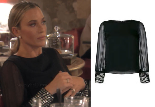 fortnite, Real Housewives of Beverly Hills, RHOBH, Teddi Mellencamp, Season 9, Teddi Mellencamp's outfit, celebrity outfits, reality tv shows, Real Housewives of Beverly Hills outfits, bravo, reality tv clothes, Teddi Mellencamp black sheer sleeve top, Teddi's crystal cuff top, Alice + Olivia studded cuff blouse