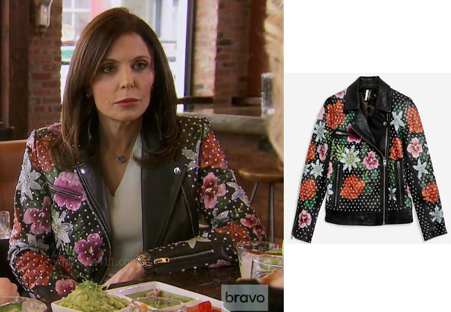 fortnite, Real Housewives of New York, RHONY, Bethenny Frankel, Season 11, Bethenny Frankel's outfit, celebrity outfits, reality tv shows, Real Housewives of New York outfits, bravo, reality tv clothes, Bethenny's floral jacket, Bethenny's leather jacket, Topshop Floral Leather Biker Jacket