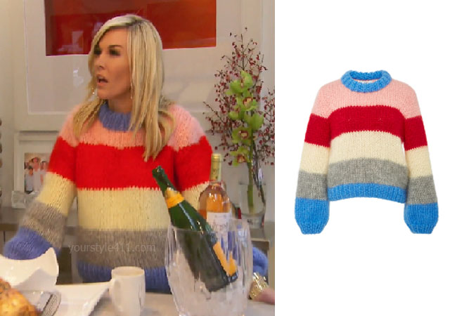 fortnite, Real Housewives of New York, RHONY, Tinsley Mortimer, #rhony, Season 11, Tinsley Mortimer's outfit, celebrity outfits, reality tv shows, Real Housewives of New York outfits, bravo, reality tv clothes, Tinsley's striped sweater, Ganni the julliard striped mohair sweater